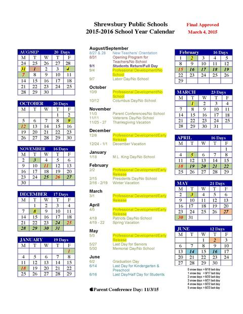 2019 To 2016 School Calendar School Year Calendar | District