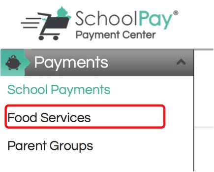 Schoolpay Page showing Food Services location
