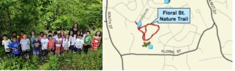 Children with trees on the background with Floral St. Nature trail's map