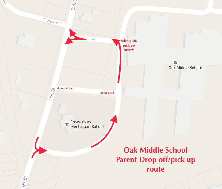 Oak Middle School Parent Drop off / Pick up route