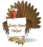 "animated turkey holding a placard stating ""Every Item Helps"""