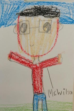 A student's drawing of the art teacher Mr. Wilson