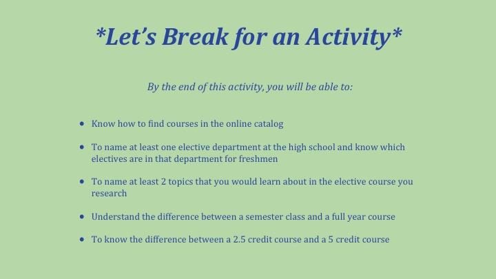 lets break for an activity