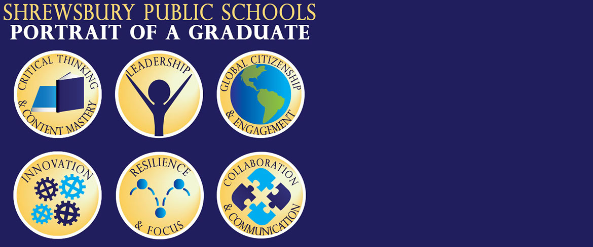"Blue background with logos for the six elements comprising the Portrait of a Graduate: ""Critical Thinking & Content Mastery,"" ""Leadership,"" ""Global Citizenship & Engagement,"" ""Innovation,"" ""Resilience & Focus,"" and ""Collaboration & Communication."""