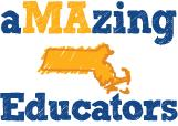 """Amazing Educators"" text in color with an image of the state of Massachusetts in orange"