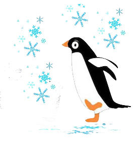 penguin and snowflakes