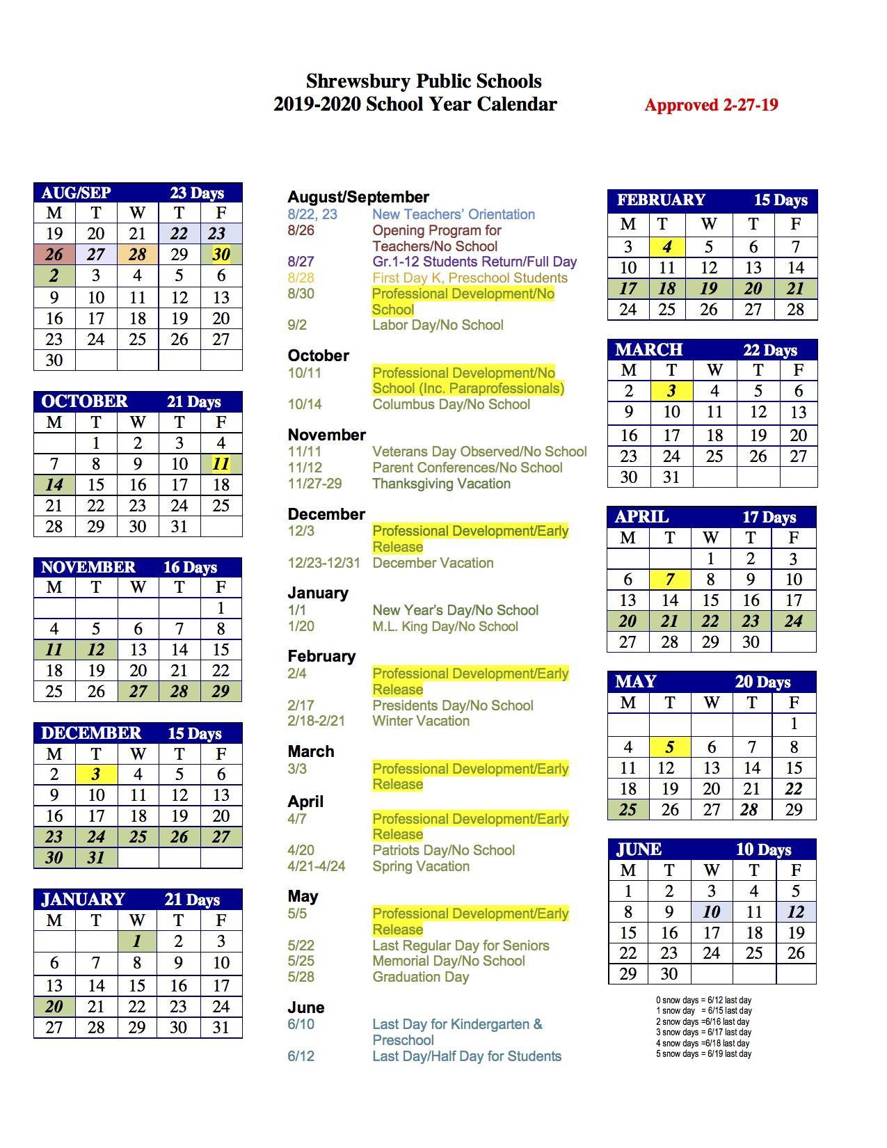 Images of Westborough School Calendar 2021