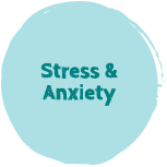 "A teal button with the text ""Stress & Anxiety"""