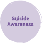 "A purple button with the text ""Suicide Awareness"""