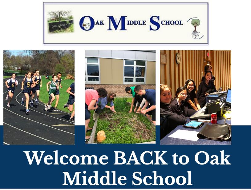 Welcome Back to Oak Middle School banner