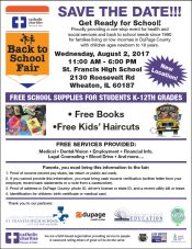 Catholic Charities 27th Annual Back to School Fair flyer