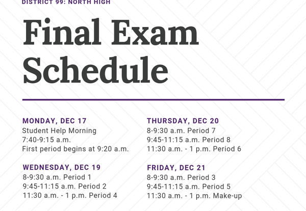 DGN Final Exam Schedule: Dec. 19-21