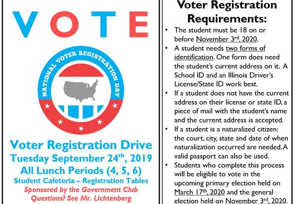 DGN Government Club Hosts Voter Registration Drive: Sept. 24