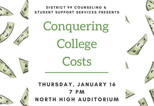 Conquering College Costs Event for Parents: Jan. 16