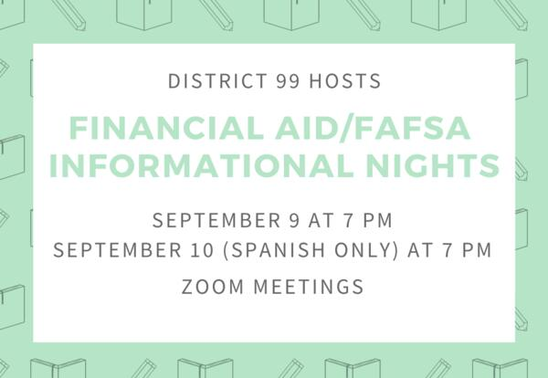 Upcoming Financial Aid Nights: Sept. 9 and 10