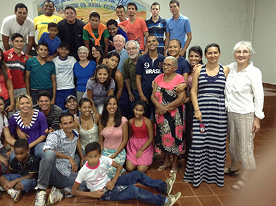 Members of the Mennonite Church of Conceicao do Araguaia celebrate the 2012 return visit of Bob and Fran Gerber, who worked with the Brazilian Mennonite Church to start the congregation as a church plant in 1979. (Photo provided)