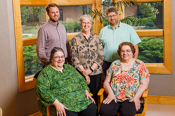 Back row:  Jamie Pitts, IMS director; Barbara Nelson Gingerich, IMS managing editor and Andy Brubacher Kaethler, IMS associate director. Front seated: Retired IMS director, Mary Schertz and former IMS associate director, Lois Barrett.
