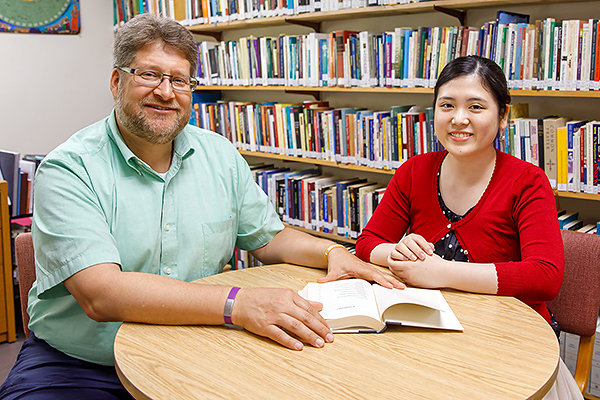 Andy Brubachert Kaethler, associate professor of Christian formation and culture, with student Yukino Ohyama.