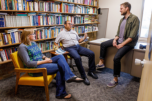MDiv Connect student Rachelle Lutjens with Safwat Marzoiuk, PhD, associate professor of Old Testament and Jamie Pitts, PhD, associate professor of Anabaptist studies