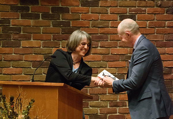 Bruce Baergen (at right), AMBS Board chair from of Edmonton, Alberta, Canada, congratulates Beverly Lapp, Ed.D., following her acceptance of the call to serve as AMBS vice president and academic dean at the Oct. 19 installation service at the AMBS Chapel