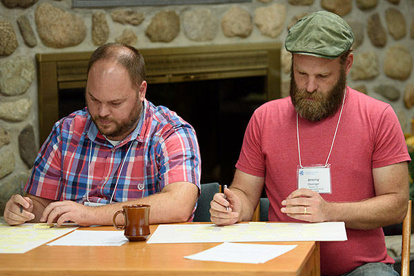 Jacob Dodson, a mentor, and Jeremy Clevenger, a first-year participant, both of Wooster (Ohio) Mennonite Church, at the September 2018 Journey Weekend Learning Event at Amigo Centre, Sturgis, Michigan. (Credit: Jason Bryant)