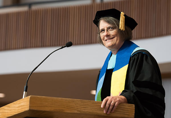 Sara Wenger Shenk, Ed.D., at her last commencement as AMBS president on May 4, 2019, at College Mennonite Church in Goshen, Indiana. (Credit: Jason Bryant)