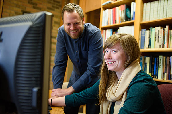 Jamie Pitts, PhD, Institute of Mennonite Studies director, with student Sophia Austin.