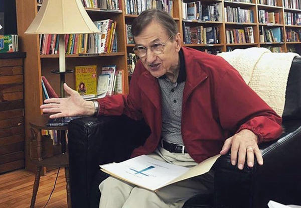 Willard Swartley, Ph.D., discussed his newest book, Jesus, Deliver Us, on Sept. 7, 2019, during a book signing at Fables Bookshop in Goshen. (Credit: Bekah York)