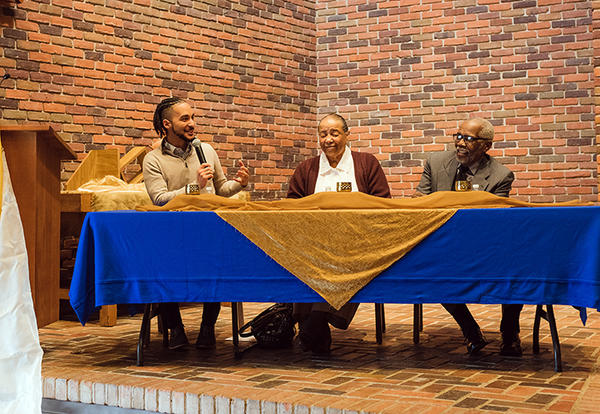 (l. to r.) Special guest Benjamin J. Tapper, M.P.A., M.Div., facilitates a panel discussion featuring longtime Elkhart residents and leaders Rev. Jean Mayes and Rev. Dr. Plez Lovelady as part of AMBS's Dr. Martin Luther King, Jr., Day event at AMBS on Jan