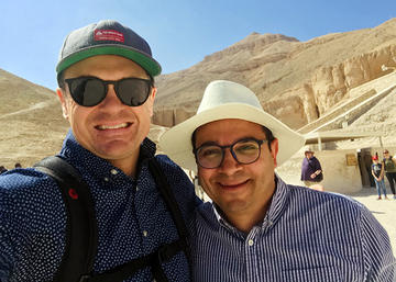 """Encountering Egypt"" learning tour leaders and AMBS Teaching Faculty members Drew Strait, Ph.D., and Safwat Marzouk, Ph.D., at the Valley of the Kings, Luxor, Egypt. (Credit: Safwat Marzouk)"