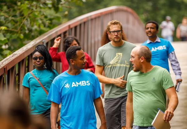 Participants in AMBS's August 2019 orientation course — Leadership Education in Anabaptist Perspective — tour Island Park in downtown Elkhart as they consider how theology relates to one's setting and context. (Credit: Peter Ringenberg)