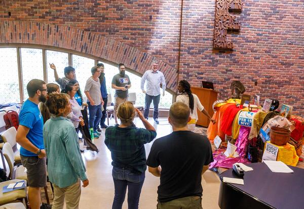 Nekeisha Alayna Alexis leads a half-day workshop on intercultural competence and intersectionality for incoming students in the 2017 Leadership Education in Anabaptist Perspective course. Credit: Peter Ringenberg