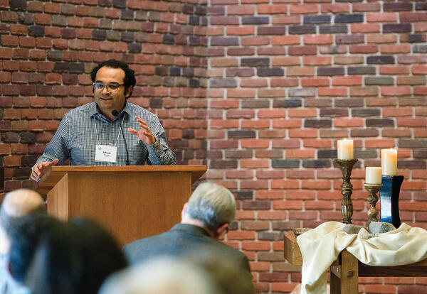 Safwat Marzouk, Ph.D., associate professor of Old Testament/Hebrew Bible, speaks at Pastors and Leaders 2018. (Credit: Jason Bryant)