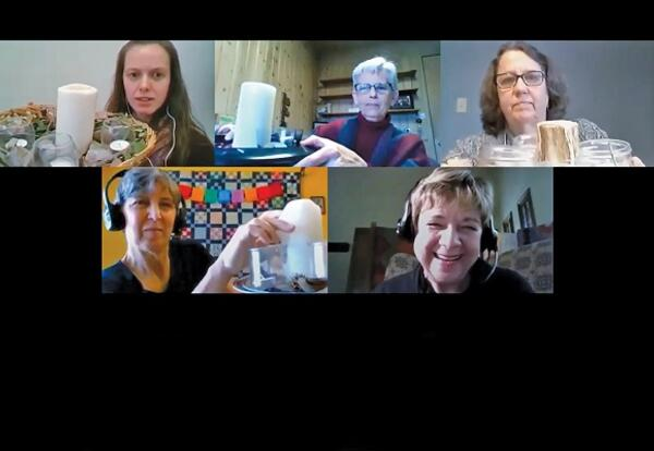 Presenters show examples of visuals during the Good Friday and Easter planning webinar (clockwise from top left): Michelle Curtis (M.Div. 2018); Rebecca Slough, Ph.D., AMBS academic dean emerita and professor emerita of worship and the arts; and current M