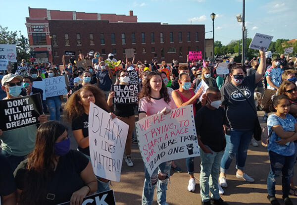 Protesters gathered for the United We Stand rally at the Civic Plaza in downtown Elkhart, Indiana. The event, which took place on Friday, May 29, 2020, was organized by local resident Curbiee Coleman. (Credit: Nekeisha Alayna Alexis)