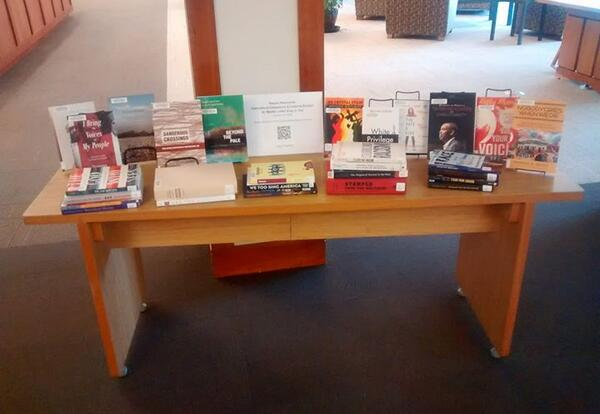 Display of AMBS Library resources in honor of Dr. Martin Luther King, Jr., Day in January 2020 (Credit: Karl Stutzman)
