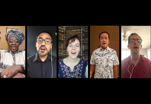 """AMBS students (l. to r.) Sibonokuhle Ncube, Marcos Acosta, Salomé Haldemann, Andios Santoso and Quinn Brenneke sing """"Jesus, we are here."""""""