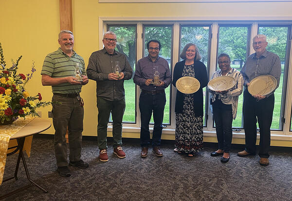 AMBS employees honored in May 2021 for their service to the seminary include Jeff Marshall, Allan Rudy-Froese, Safwat Marzouk, Jewel Gingerich Longenecker, Barb Gamble and Ron Ringenberg.