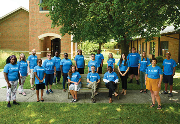 New students who participated in the campus version of AMBS's orientation course, Leadership Educationin Anabaptist Perspective (LEAP), in August 2021 (Credit: Jason Bryant)