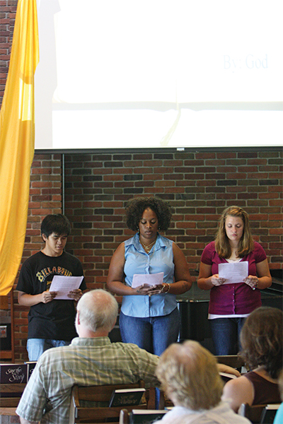 2010 participants Adrian Suryajaya, Ashlee Pierson (event pastor), and Mary Schrag lead worship
