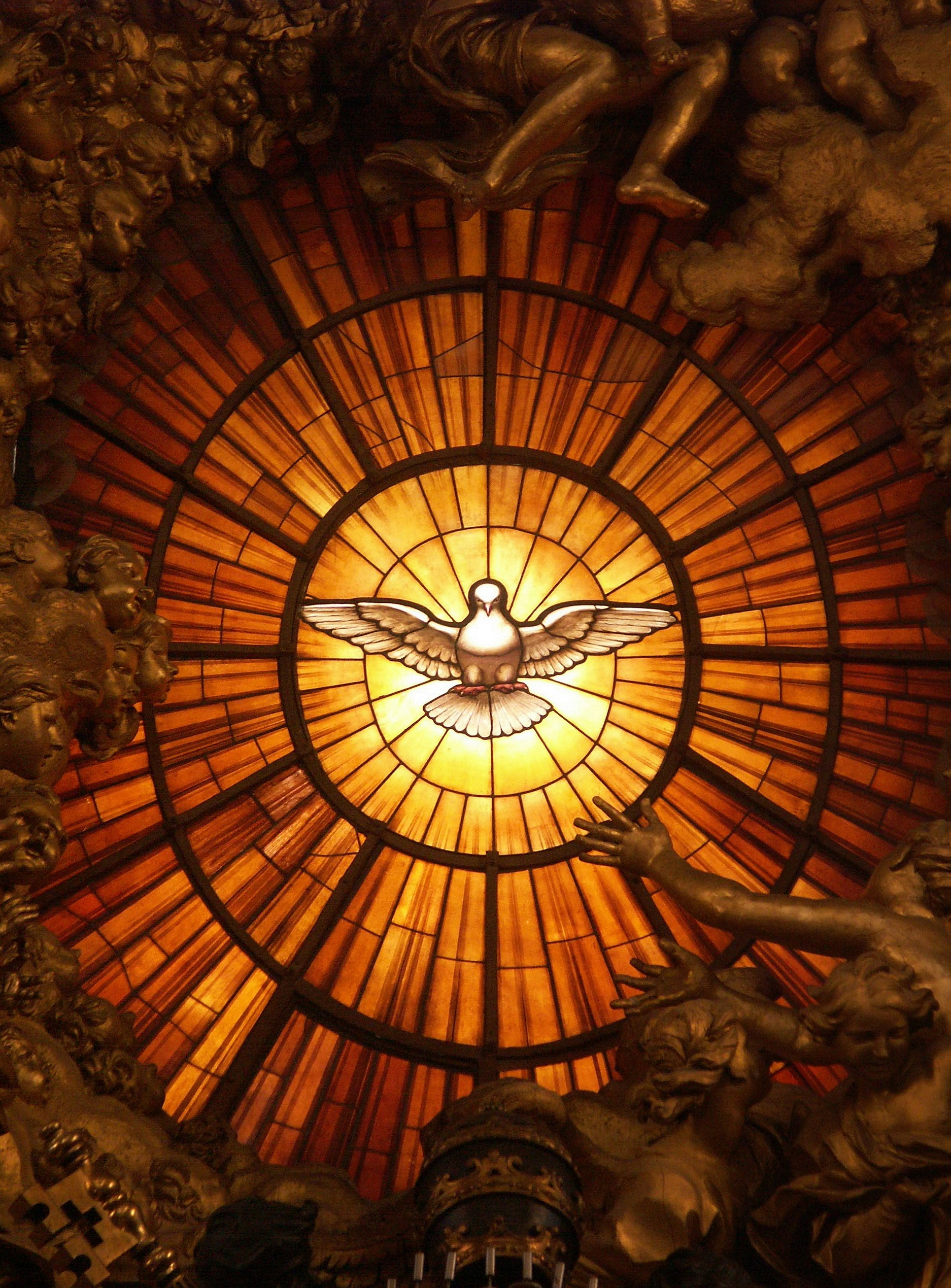 Gian Lorenzo Bernini - Dove of the Holy Spirit (ca. 1660, stained glass, Throne of St. Peter, St. Peter's Basilica, Vatican). Wikimedia Commons