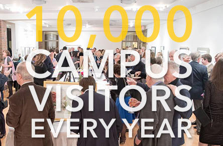 "Group of people in room with words ""10,000 Campus Visitors Every Year"" overlaid"
