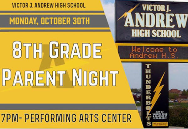 8th Grade Parent Night to be Held October 30th at Andrew H.S.