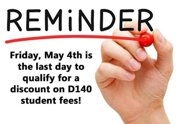 Discounted Registration Fees Due Friday, May 4th