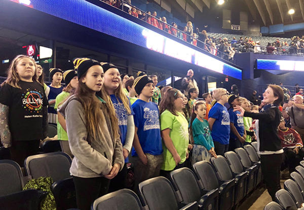 Keller Chorus Performs at Wolves Game