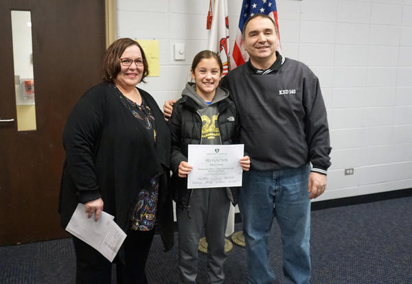 D140 Board of Ed Honors Millennium Fourth Grader Angelina Marsella