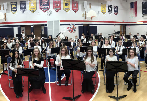 band students in gymnasium