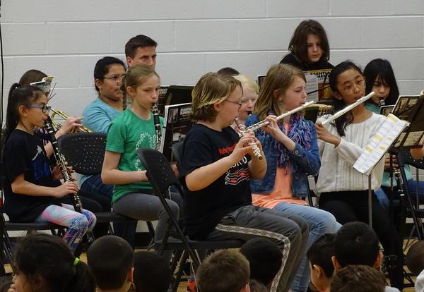 students performing at band concert