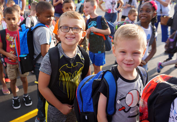 students lined up on first day of school
