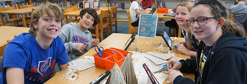 students in the media center